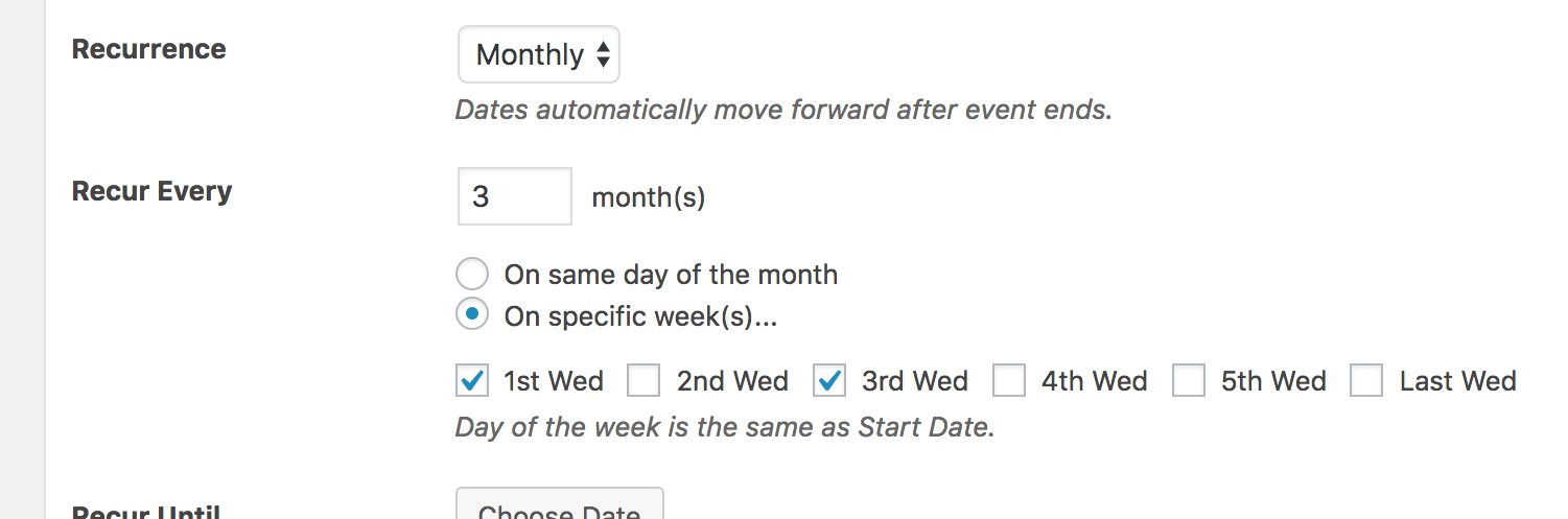 Recurrence Monthly