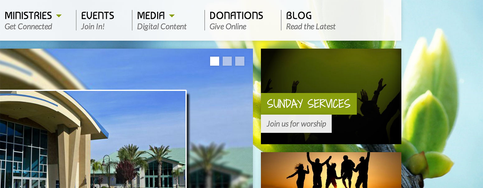 Crossword Christian Church uses our Resurrect theme's highlight widget to bring the user to service times