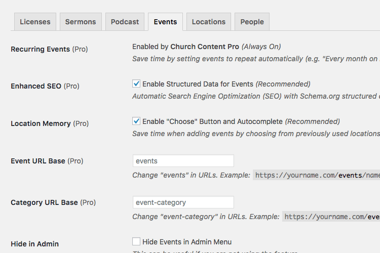 Events setting for Church Content plugin