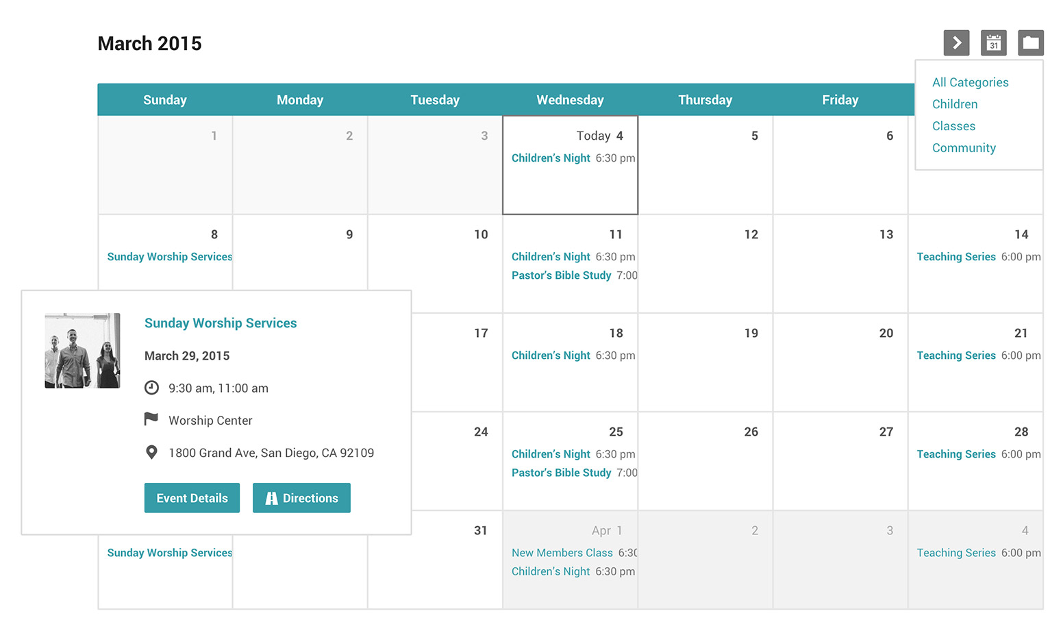 Church Events Calendar And Categories For Wordpress