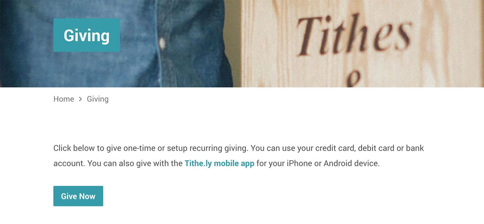 Tithe.ly Giving Page Example
