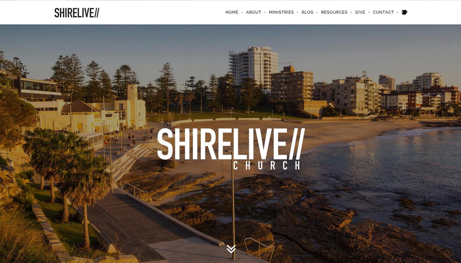 Shirelive - Church Website Screenshot