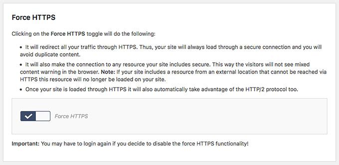 SiteGround Force HTTPS in WordPress