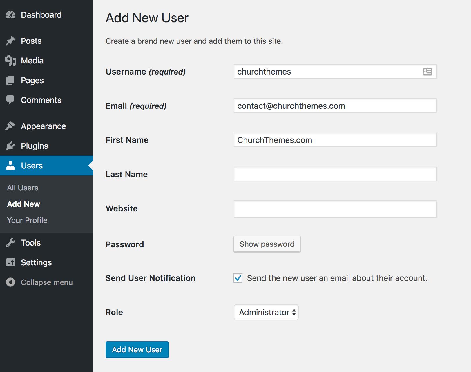 Add User in WordPress