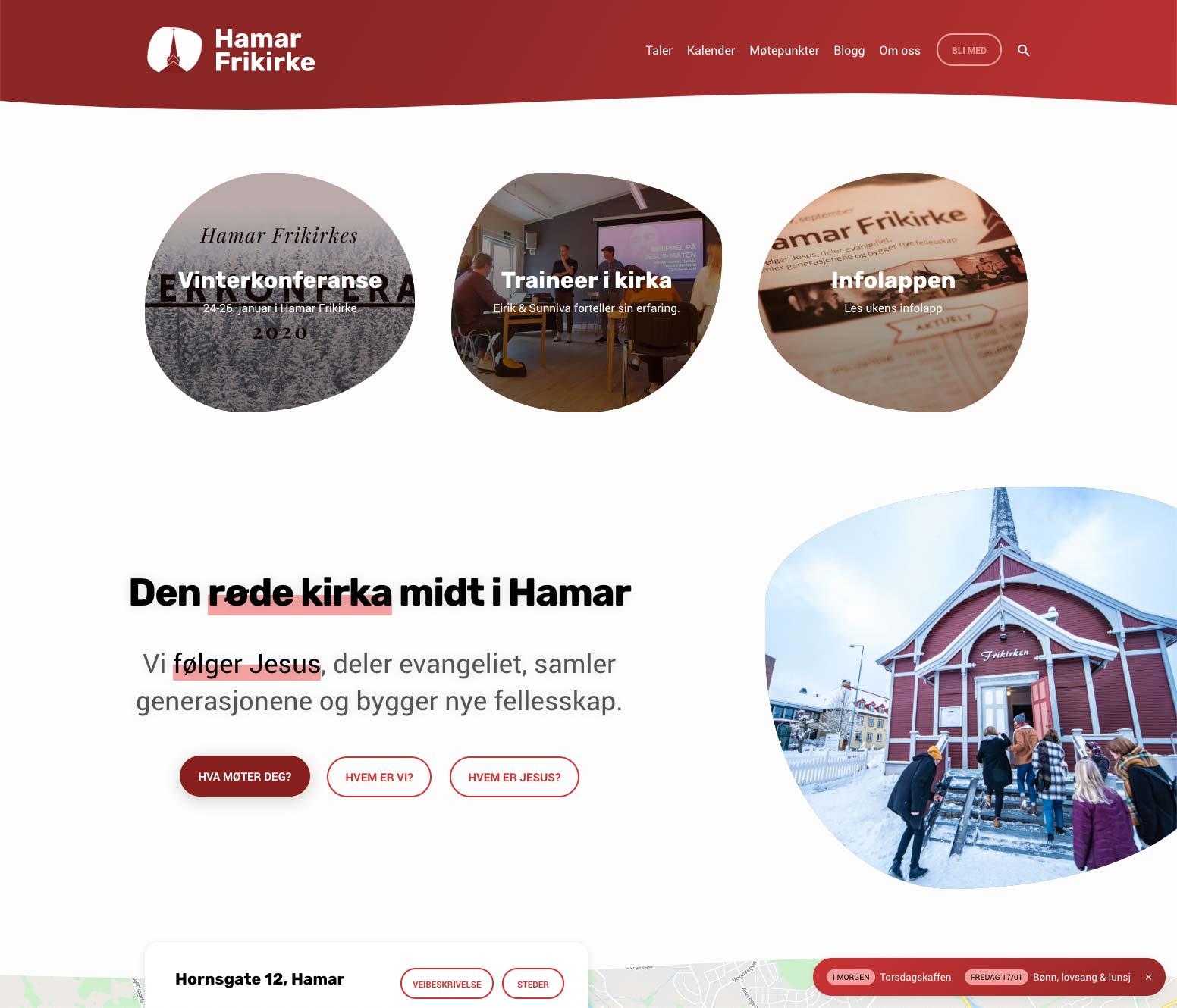 Hamar Frikirke Church Website