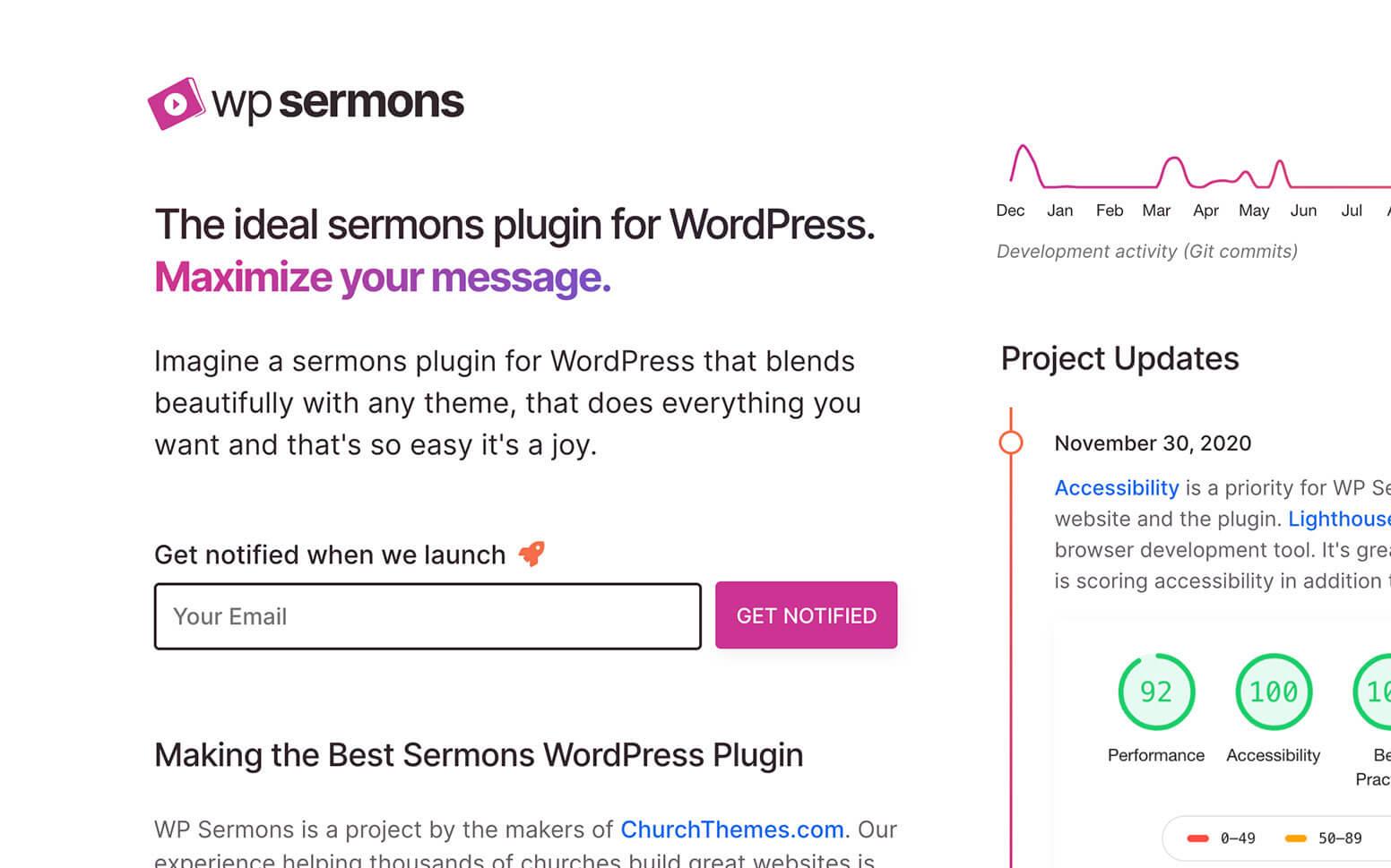 WP Sermons WordPress Plugin Site